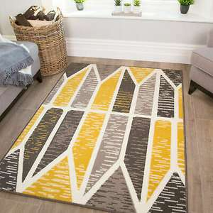 Yellow Mustard Geometric Rug 60 x 110 cm £5.95 delivered @ therughouseuk / ebay