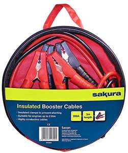 Sakura Booster Cables Jump Start Leads - 200 Amp 3 m Colour Coded Clamp - For Cars Vehicles Up To 2.0L - £8.69 Prime (+ £4.49 NP) @ Amazon