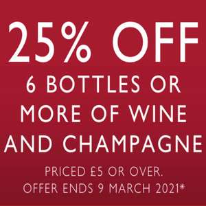 25% OFF 6 BOTTLES or more of wine and Champagne priced £5 or over @ Waitrose Cellar - £5.95 delivery or FREE on orders over £150