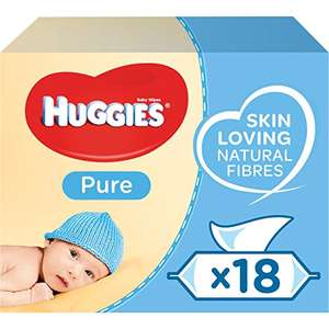 Huggies Pure Baby Wipes Bulk, 99% Water, Sensitive, 1008 Wet Wipes (18 packs x 56 Wipes) £10.50 Prime / £14.99 Non Prime at Amazon