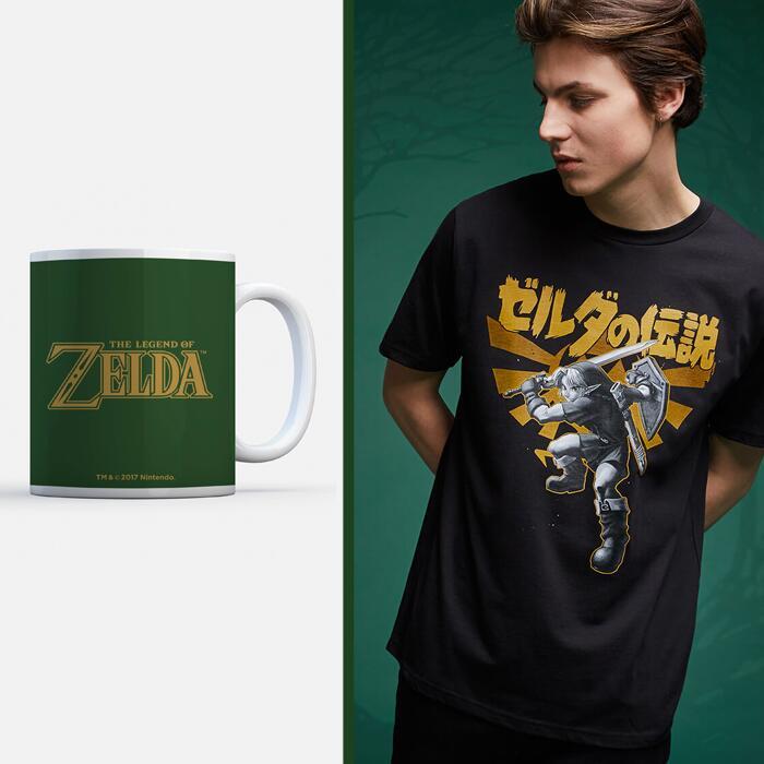 Legend Of Zelda Link Kanji T-Shirt + Nintendo Legend Of Zelda Hyrule Crest Mug £10.98 Delivered / £8.99 For Red Carpet Members @ Zavvi