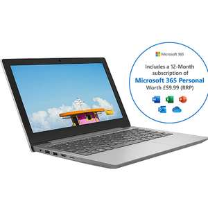 """Lenovo IdeaPad 1 11.6"""" Includes Microsoft 365 Personal 12-month subscription with 1TB Cloud Storage Laptop - Grey £199 ao.com"""