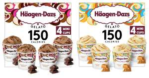 Haagen-Dazs Chocolate Drizzle or Caramel Swirl Minicup Gelato Collection (4 x 95ml) - £2.50 (Min Spend / Delivery Fee Applies) @ Asda