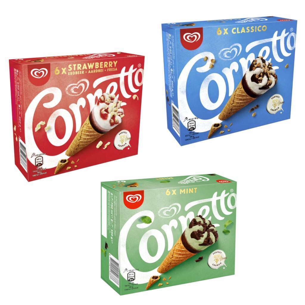 Cornetto 6 Strawberry or 6 Classico or 6 Mint Ice Cream Cones - £1.50 each (Min Spend / Delivery Fee Applies) @ Asda