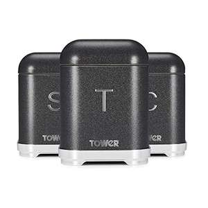 Tower Kitchen Storage Canisters Set of 3, Blush Pink or Noir £22.99 delivered at Amazon