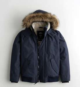 Faux Fur Lined Bomber Jacket (XS-XL) £27.99 Members Price & Free Delivery via App @ Hollister