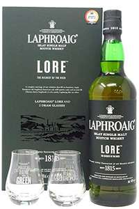Laphroaig Lore gift set with 2 glasses 70cl 48% - £60 +£4.90 delivery Sold and Despatched by The Wine Cellar via Amazon