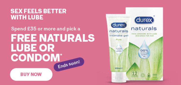 Free durex naturals lube or condom 12 pack with £35 spend @ Durex