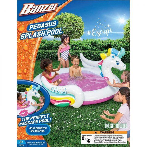 Banzai Pegasus Kids Garden Summer Inflatable Unicorn Durable PVC Paddling Pool 5FT Diameter (152cm) £10 DELIVERED at Yankee Bundles
