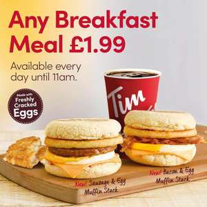 Any Breakfast Meal For £1.99 Offer Extended! Available Before 11am @ Tim Hortons