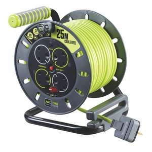Masterplug Pro XT 13A 4-GANG 25M Cable reel £23.99 + £5 delivery @ Screwfix