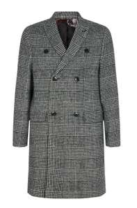 Black And White Check Double Breasted Faux Wool Overcoat Now £16.02 with codes Free delivery @ Burton