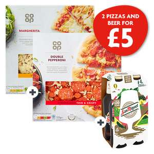 Cosy Night In : 2 Co-op Pizzas (Double Pepperoni or Margherita) & 1x 4 San Miguel Beer/Coca-Cola Bottles £5 @ Nisa