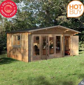 """Installed Forest Garden Kimbrey 44mm Log Cabin 17ft x 13ft 8"""" (5.2 x 4.2 m) - £4599.89 member price @ Costco"""