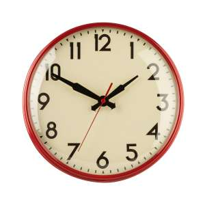 Premier 28cm retro wall clock in red metal with cream metal face for £18.70 delivered using code @ La Redoute
