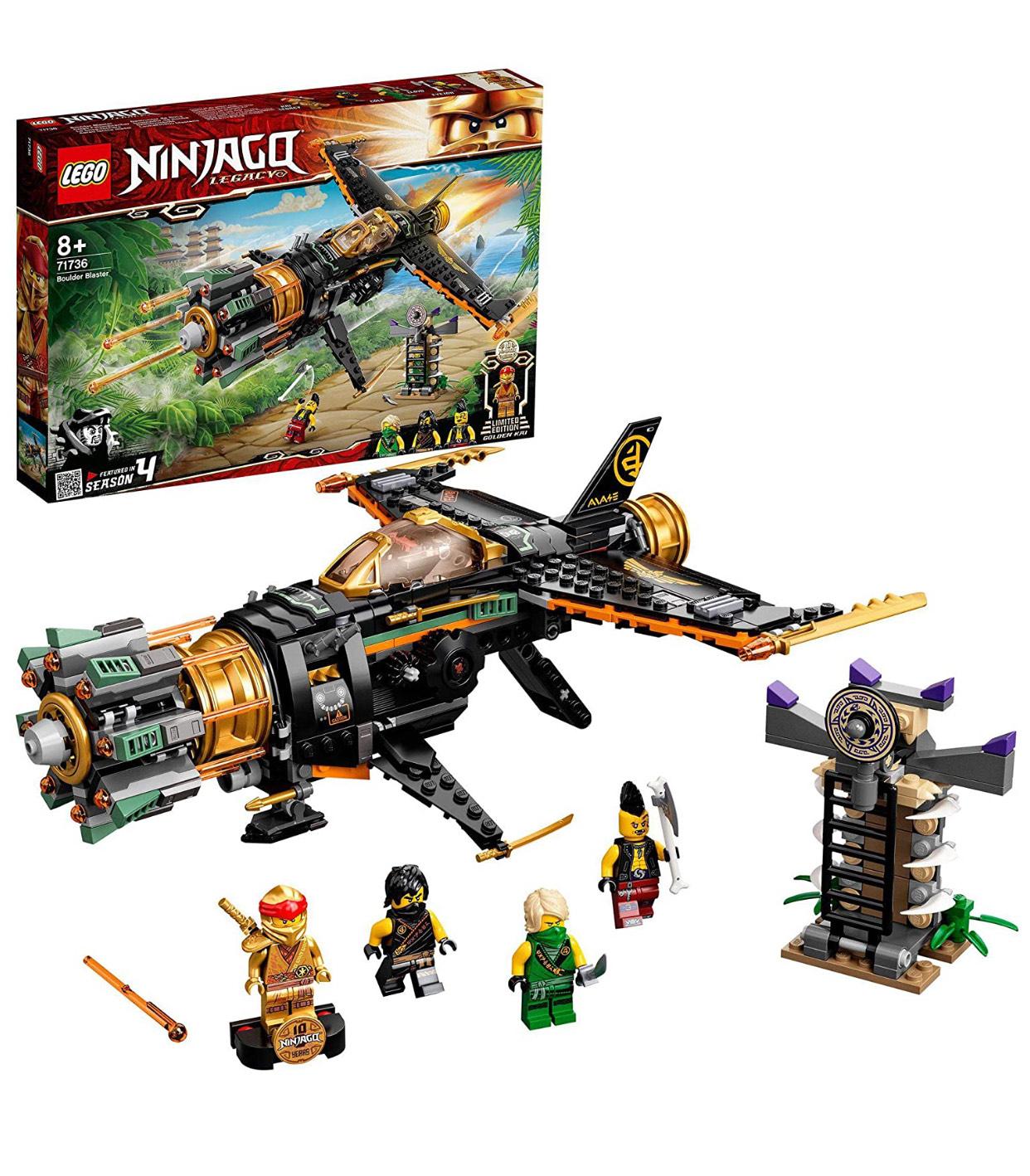 LEGO NINJAGO 71736 Legacy Boulder Blaster Aeroplane Toy with Prison and Collectible Gold Ninja Kai Figure - £27.99 at Amazon