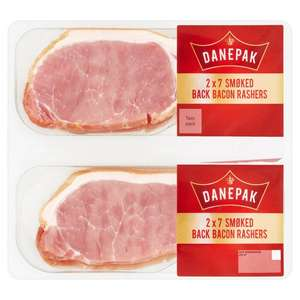 Danepak Smoked or Unsmoked Back Bacon Rashers Twin Pack 500G for £2.25 (Clubcard Price / Min Spend & Delivery Charge Applies) @ Tesco