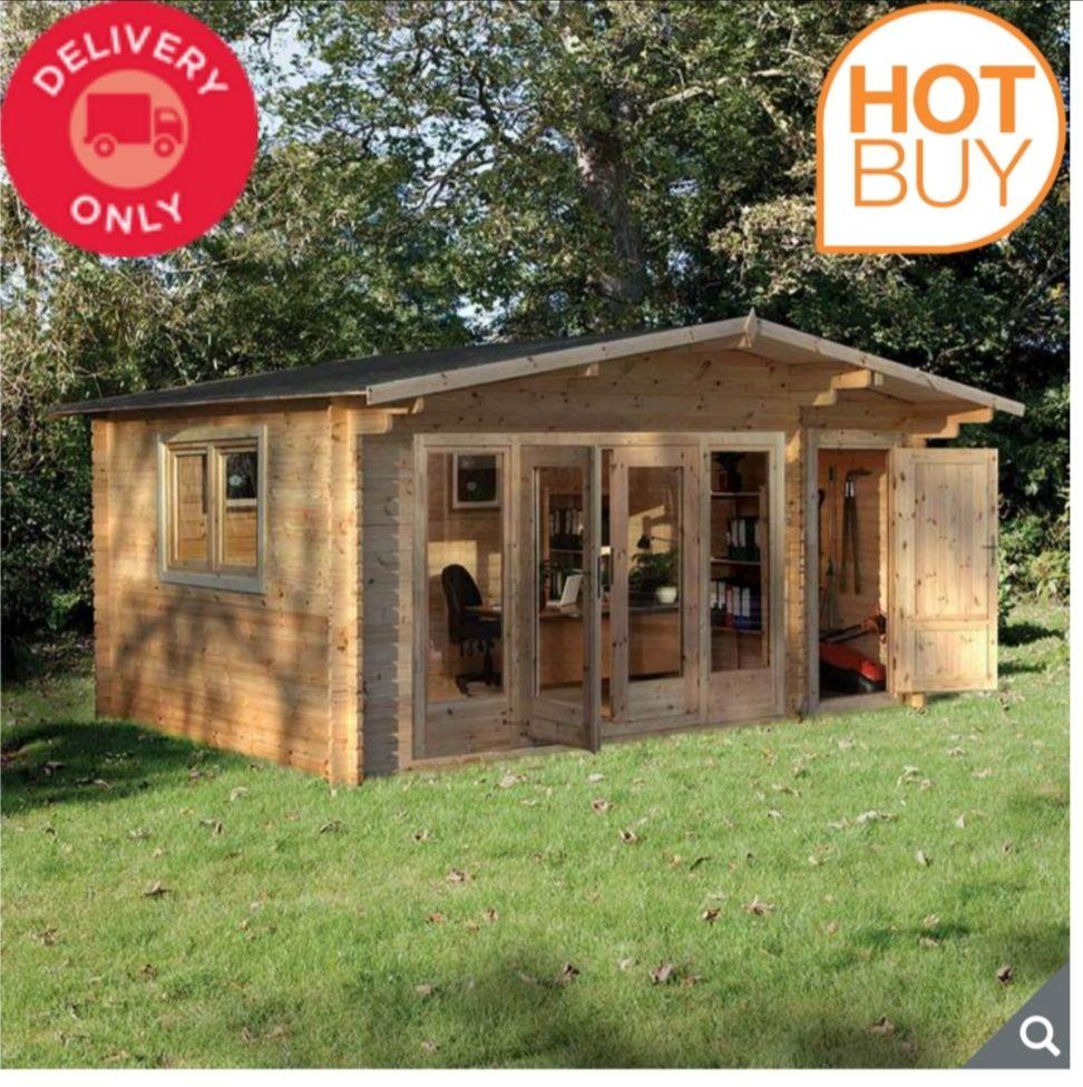 "Forest Garden Kimbrey 44mm Log Cabin 17ft x 13ft 8"" (5.2 x 4.2 m) £3799.99 @ Costco"