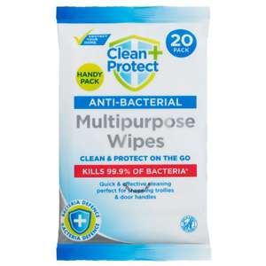 Clean & Protect Handy 20 Pack Antibacterial Cleaning Wipes, Now 39p @ B&M ( Chester )