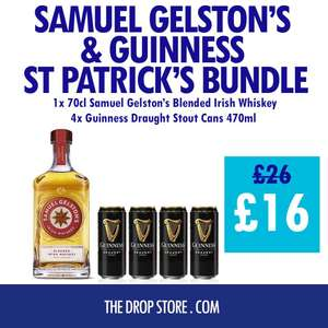 Samuel Gelston's Blended Irish Whiskey 70cl & 4 cans of Guinness Draught 470ml £16 + £5.99 delivery @ The drop store