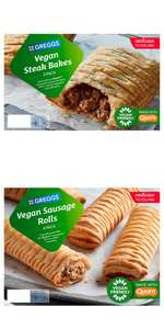 Greggs Vegan Sausage Rolls 4 Pack 420g or Greggs 2 Vegan Steak Bakes 304g - £2.50 or 2 for £4 (Min Spend + Delivery Charges Apply) @ Iceland