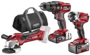 """X-Change 18V Cordless Drill Driver, Impact Driver & 4 1/2"""" Angle Grinder w/ 4.0A & 2.0A Batteries £168.95 @ CPC Farnell"""