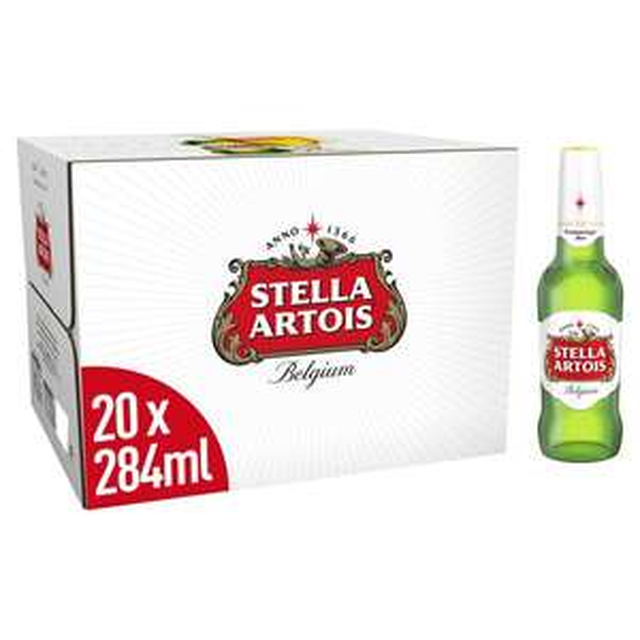 Stella Artois Premium Lager Beer bottles 20 x 284ml £8 / Budweiser Beer Bottles 15 x 300ml £8 (Min Spend / Delivery Fee Applies) @ Morrisons