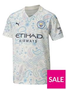 Puma Youth Manchester City Third Short Sleeved Football Shirt - White (Age 7-8 up to 15-16) £24 + £3.99 delivery at Very