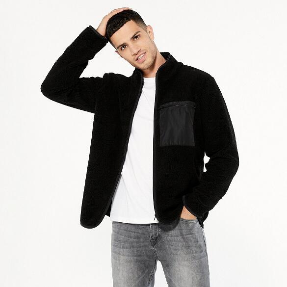 Men's Black Zip Front Borg Jacket in Black, or Mink now £11.70 + £2.99 delivery @ New Look