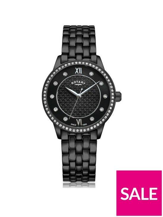 Rotary Black Textured Swarovski Set Dial Black IP Stainless Steel Bracelet Ladies Watch £115 @ Very