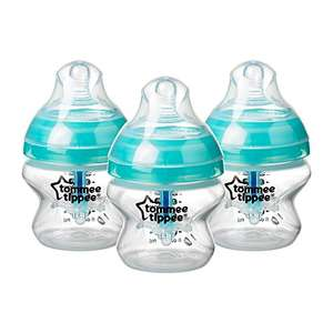 Tommee Tippee Advanced Anti-Colic Baby Bottles, Breast-Like Teat and Heat Sensing Tech, 150ml, Pack 3, Clear - £3.99 (+£4.49 NP) @ Amazon