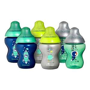 Tommee Tippee Closer to Nature Decorated Baby Bottles, Blue, 260 ml, 6-Piece - £7.50 (+£4.49 Non-Prime) @ Amazon