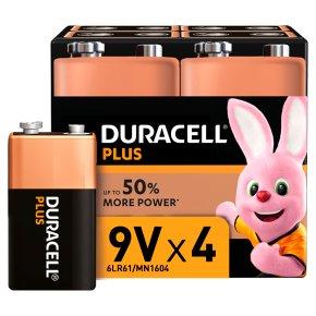 Duracell Plus 9V Batteries Alkaline x4 £2.50 / Duracell 2025 3V Lithium x4 £1.60 (Minimum Spend + Delivery Charges) @ Waitrose & Partners