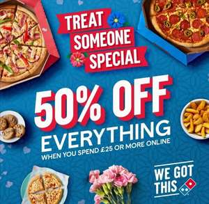50% Off Everything (Excludes ice cream and drinks) when you spend £25 or more (Area specific) @ Dominos Pizza