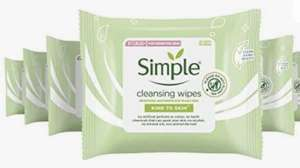 Simple Kind to Skin Cleansing Facial Wipes make up remover and Lifts Impurities Out, 25 Wipes (Pack of 6 x 25) - £8.94 (+£4.49 NP) @ Amazon