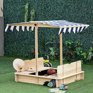 Square Wooden Sandpit With 2 Benches Built-in & Adjustable Canopy - £81.59 Delivered Using Code @ eBay / 2011Homcom