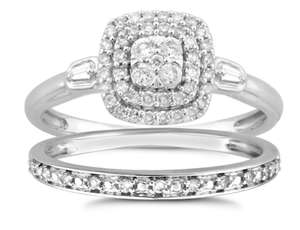 Perfect Fit 9ct White Gold 0.33ct Total Diamond Bridal Ring Set Now £399.20 with code @ H Samuels