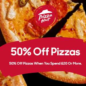50% Off Takeout Pizza on Online Collection orders of £20 or over at Pizza Hut