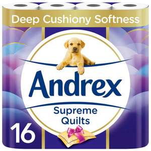 Andrex Toilet Tissue Supreme Quilts 16 Rolls £6.95 (+ Delivery Charge / Minimum Spend Applies) @ Asda