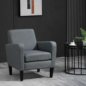 Linen Modern-Curved Armchair Accent Seat With Wooden Legs - £84.99 Delivered Using Code @ eBay / 2011Homcom