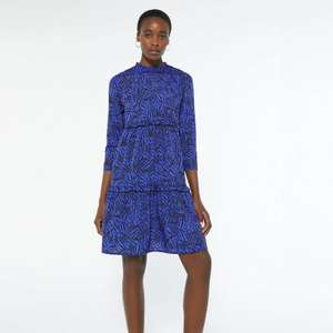 Tall Blue Zebra Print Tiered Smock Dress now £6.00 + £2.99 delivery @ New Look