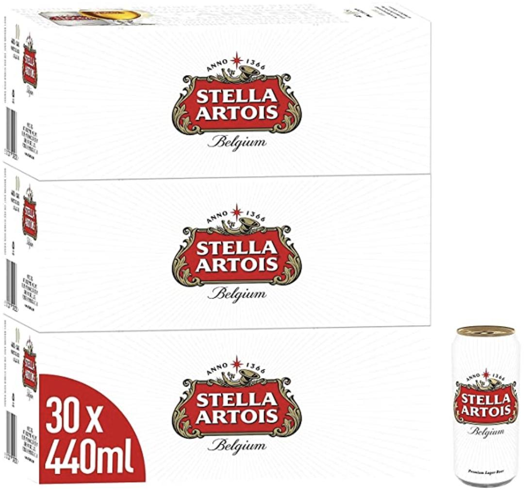 Stella Artois Premium Lager Beer Can, 3 x 10 x 440ml - £23.33 @ Amazon