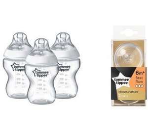 Tommee Tippee Closer to Nature 260 ml Baby Bottles 3 pack + Fast Flow Teats 6+ months 2 pack Bundle £8.99 prime / £13.48 nonPrime Amazon