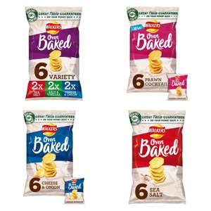 Walkers Baked Variety, Cheese & Onion, Ready Salted, Salt & Vinegar, Prawn Cocktail (6x25g) - £1 (Clubcard, Min Spend & Del Applies) @ Tesco
