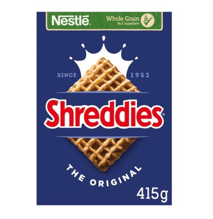 Nestle Shreddies Original Cereal 415G £1.50 Clubcard price (Minimum Basket / Delivery Charge Applies) @ Tesco
