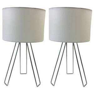 Set of 2 Chrome Tripod Table Lights with White Cotton Shade £19.99 free delivery (UK Mainland) at First Choice Lighting
