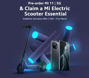 Free Mi Electric Scooter Essential with a purchase of Xiaomi Mi 11 256GB and 100GB Data £47 per month and £29 upfront £1157 @ Vodafone