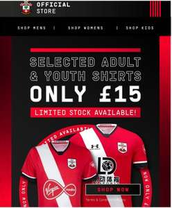 Selected Southampton FC Replica Shirts from £20 delivered @ Southampton FC