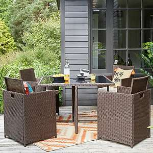 St Lucia 4 Seater Brown Cube Dining Set - 4 comfortable chairs and 1 glass top table (also in grey) £299 + £9.95 delivery at Dunelm