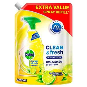 Dettol Refill Clean and Fresh Multipurpose Cleaning Spray Lemon 1.2L - £2 / (+£4.49 Non Prime) delivered @ Amazon